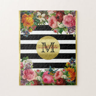 Trendy Monogram Stripes Roses Flowers Gold Glitter Puzzles