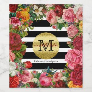 Trendy Monogram Stripes Roses Flowers Gold Glitter Wine Label