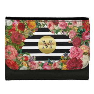 Trendy Monogram Stripes Roses Flowers Gold Glitter Women's Wallet