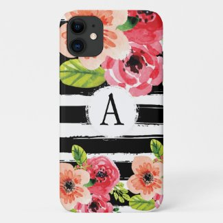 Trendy Monogramed Black White Stripes Flowers Case-Mate iPhone Case