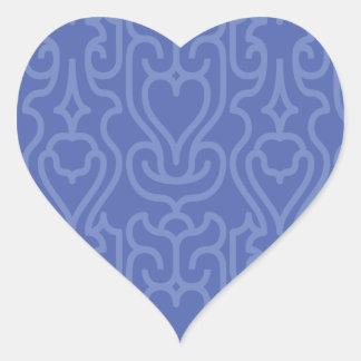 Trendy Moroccan Blue shades pattern Heart Sticker