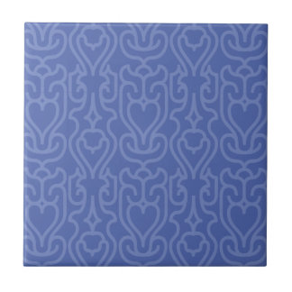 Trendy Moroccan Blue shades pattern Small Square Tile