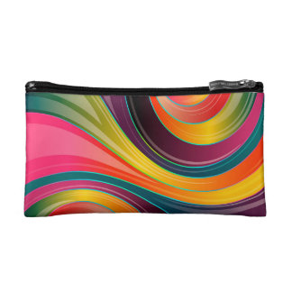 Trendy Multi Color Abstract Whirl Design Cosmetic Bag