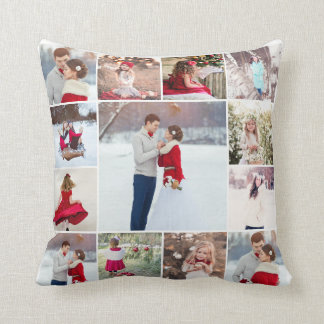 Trendy Multi Photo Collage Pillow