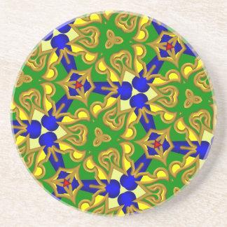 Trendy multicolored colorful pattern coaster