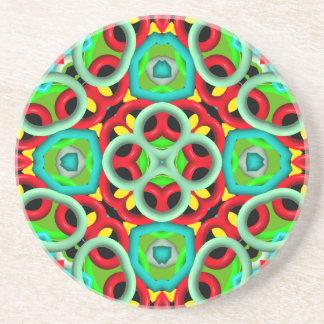 Trendy multicolored pattern coaster