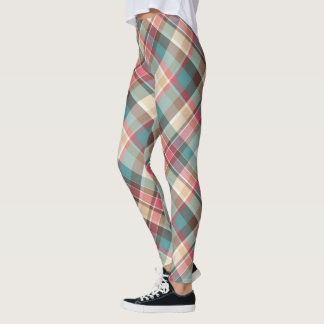 Trendy MultiColored Traditional Plaid Pattern Leggings