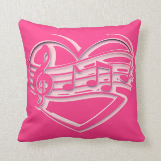 Trendy Music heart  pink throw pillow