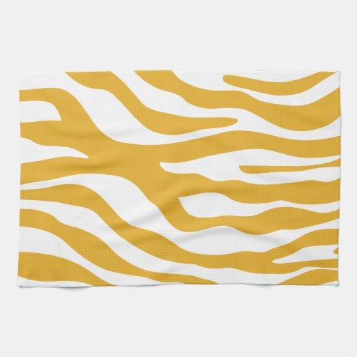 Zebra Tea Towels: Trendy Mustard Yellow Zebra Print Pattern Kitchen Towels