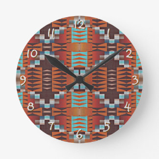 Trendy Native American Indian Tribal Pattern Round Clock