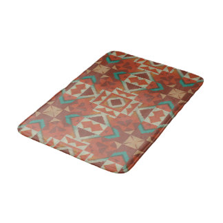 Trendy Native American Indian Tribe Mosaic Pattern Bath Mat