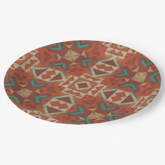 Trendy Native American Indian Tribe Mosaic Pattern Paper Plate