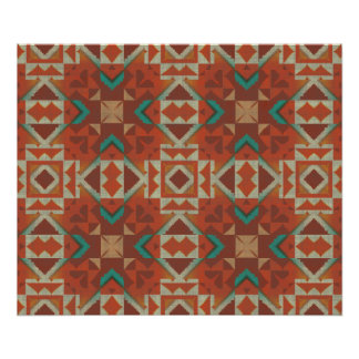 Trendy Native American Indian Tribe Mosaic Pattern Poster