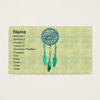 Trendy Native American Wolf Dreamcatcher Business Card