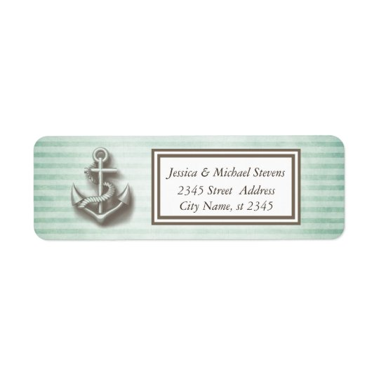 Trendy nautical anchor vintage narrow stripes return address label