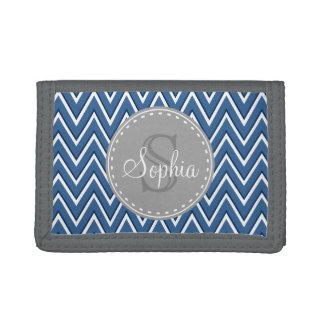 Trendy Navy Chevron Pattern Grey Monogram Tri-fold Wallet