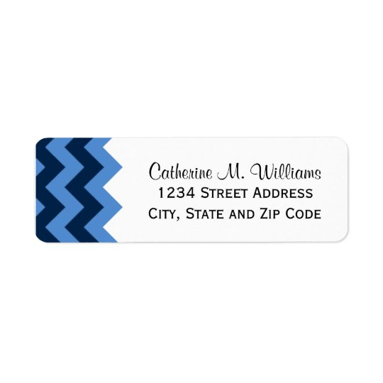 Trendy Navy & Light Blue Chevron Pattern Return Address Label