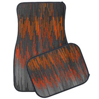 Trendy Neon Orange Black  ZigZag Chevron Pattern Car Mat