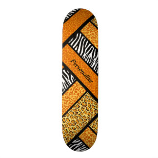 Trendy Orange African Animal Print With Name Skate Boards