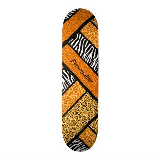 Trendy Orange African Animal Print With Name Skate Board