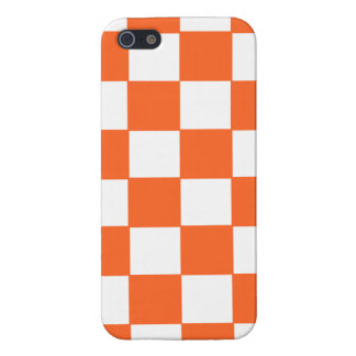 Trendy Orange And White Checkerboard Pattern iPhone 5/5S Cover