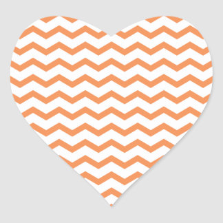 Trendy Orange Chevron Pattern.ai Heart Sticker