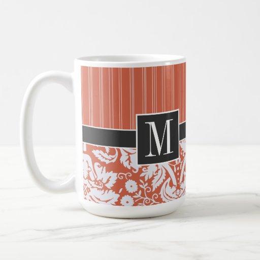Trendy Orange Damask Pattern Mugs