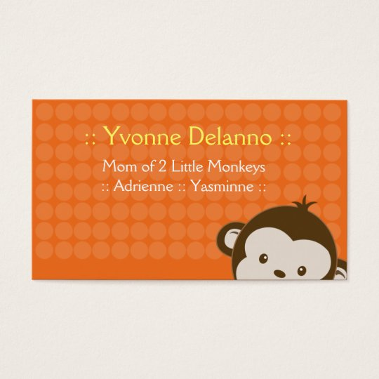 Trendy Orange Monkey Business / Mummy Calling Card