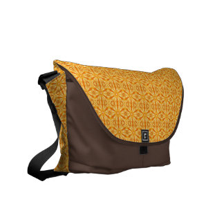 Trendy Orange, Yellow Fractal Pattern Courier Bag