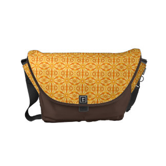 Trendy Orange, Yellow Fractal Pattern Messenger Bags