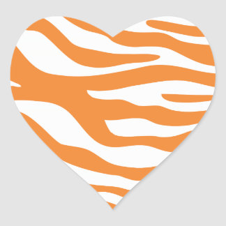Trendy Orange Zebra Print Pattern Heart Sticker