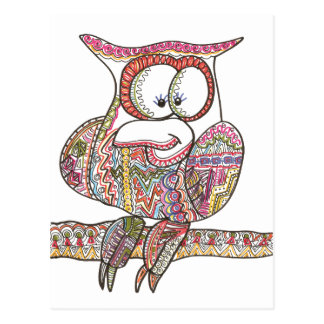 Trendy Owl - Abstract Art Ink Drawing Postcard