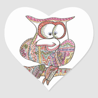 Trendy Owl - Abstract Art Ink Drawing Stickers