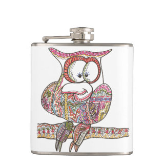Trendy Owl-Abstract Ink Doodle Hip Flask