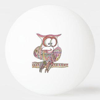 Trendy Owl - Modern Art Ink Drawing Ping Pong Ball