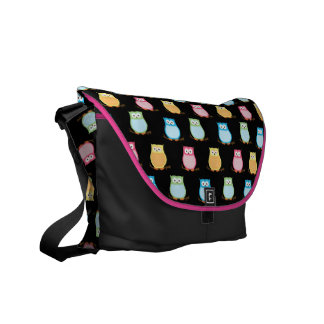 Trendy Owls Rickshaw Messenger Bag - Black