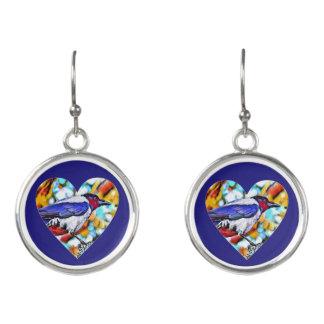 Trendy painted Crow earrings