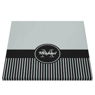 Trendy Paloma Grey Black Stripes Monogram Circle Gallery Wrapped Canvas