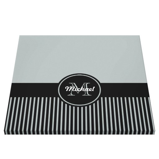 Trendy Paloma Grey Black Stripes Monogram Circle Gallery Wrapped Canvas