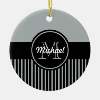 Trendy Paloma Grey Black Stripes Monogram Circle Christmas Ornament