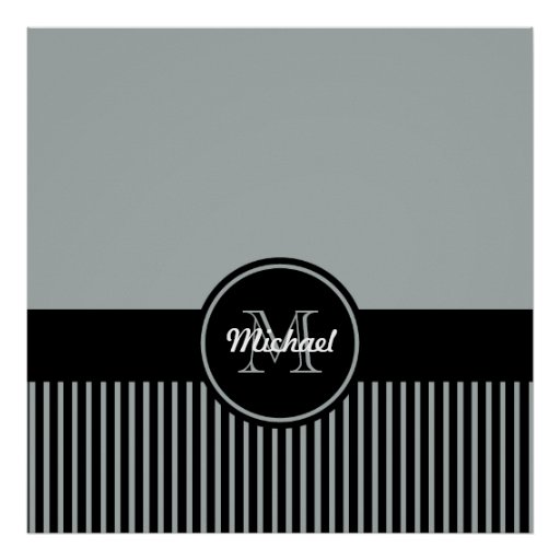 Trendy Paloma Grey Black Stripes Monogram Circle Poster