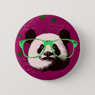 Trendy Panda Bear Faces Glasses Mustache Add Name 6 Cm Round Badge