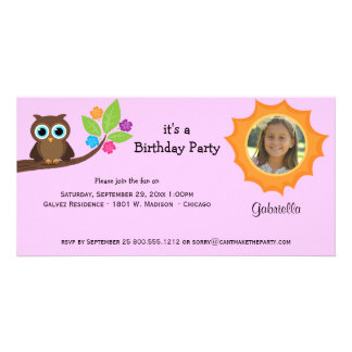 Trendy Party Owl Photo Invite Pink Background Photo Cards