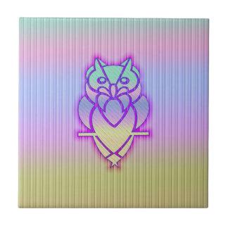 Trendy Pastel Owl Small Square Tile