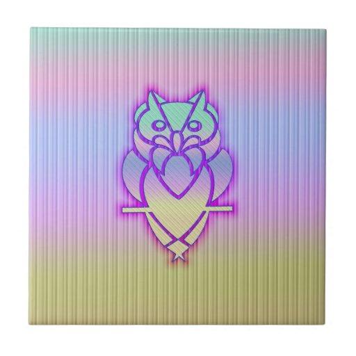 Trendy Pastel Owl Ceramic Tile