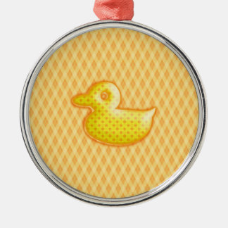 Trendy Patterned Rubber Ducky Christmas Ornament