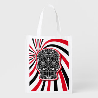 Trendy Patterned Skull on Sunburst Reusable Grocery Bag
