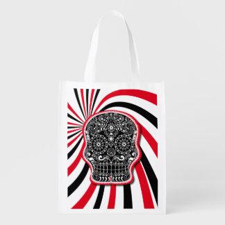 Trendy Patterned Skull on Sunburst Reusable Grocery Bag