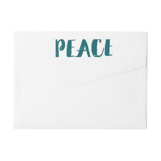 Trendy Peace Wraparound Holiday Labels - Teal Wraparound Return Address Label