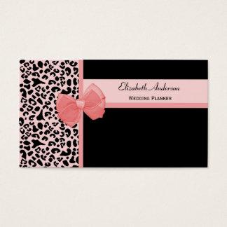 Trendy Peach Leopard Print Wedding Planner Business Card